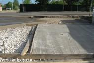 A concrete slab is used as a foundation